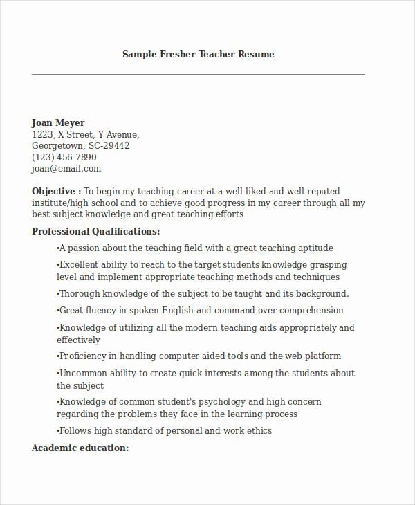 Teacher Resume Template Word Best Of Teacher Resume Sample 32 Free Word Pdf Documents