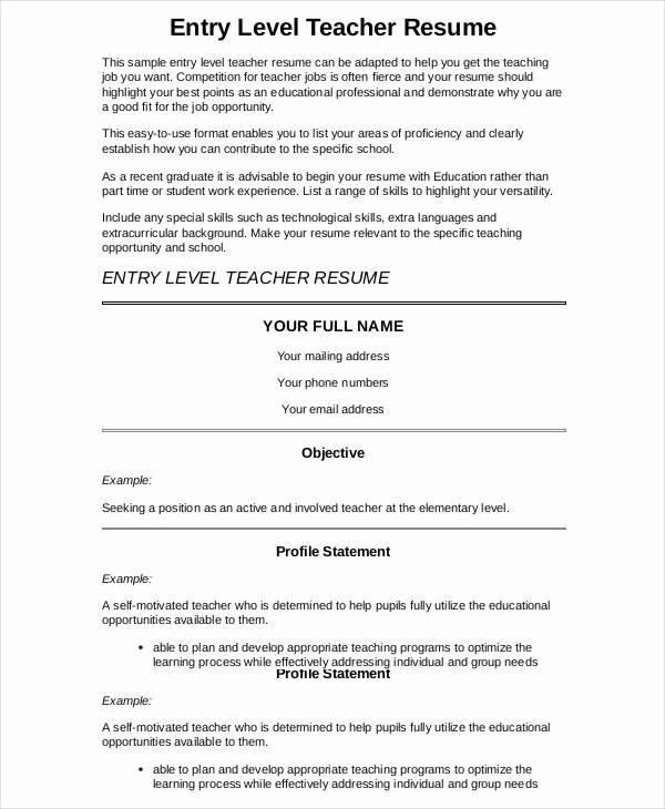Teacher Resume Template Word Elegant 9 Preschool Teacher Resume Templates Pdf Doc