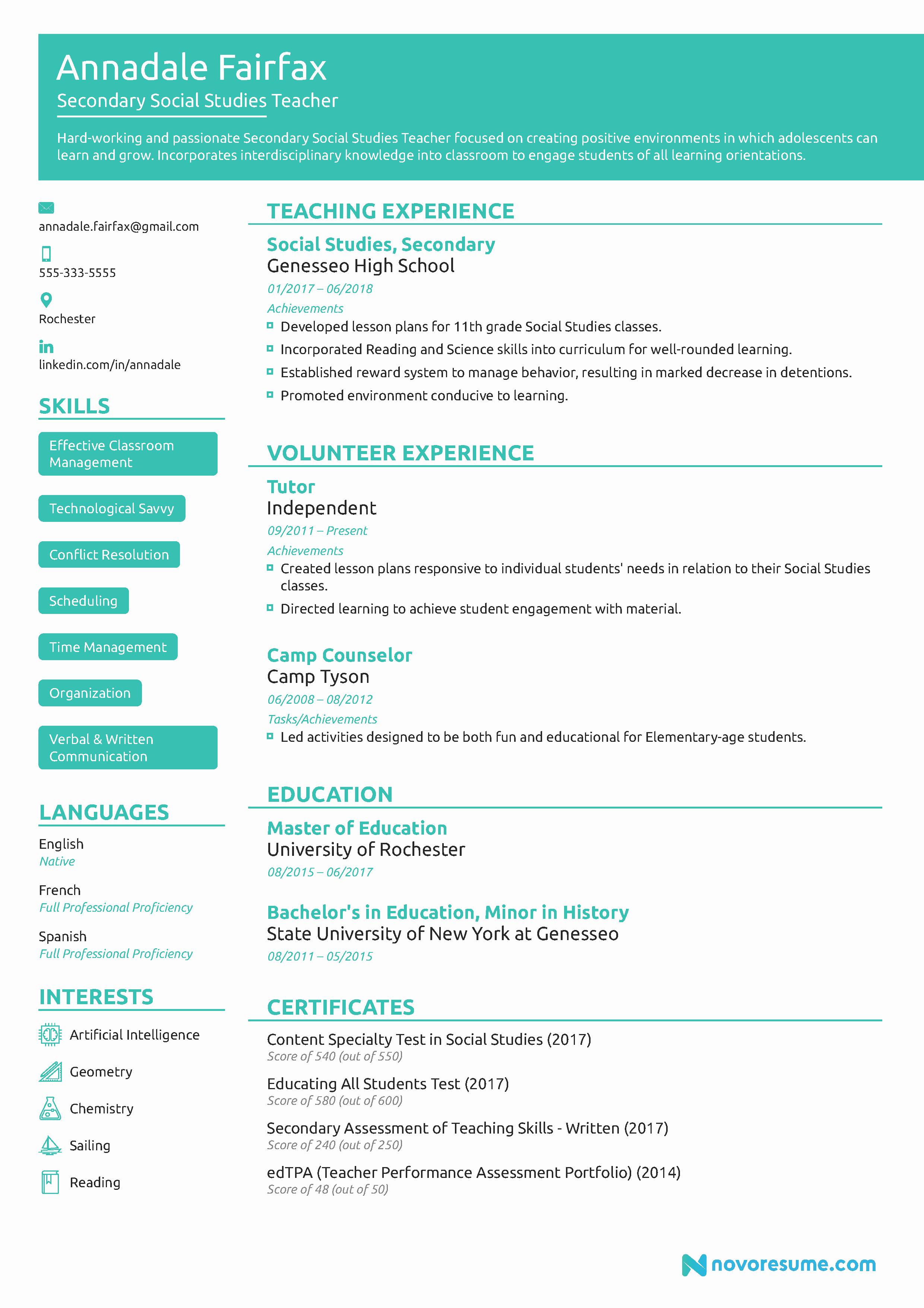 Teacher Resume Template Word Fresh Teacher Resume Example [2019] Guide & Example