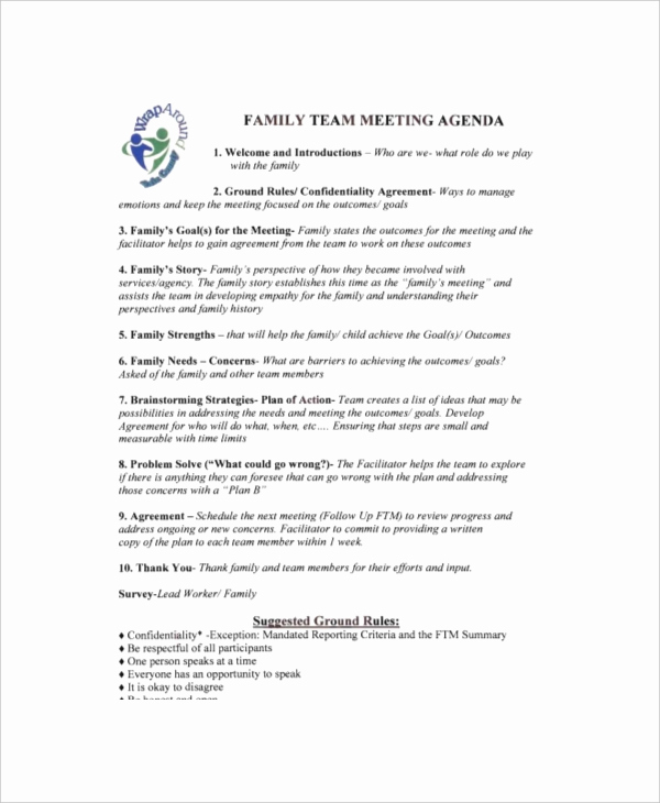 Team Meeting Agenda Template Awesome 8 Family Meeting Agenda Templates – Free Sample Example