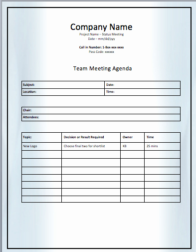 Team Meeting Agenda Template Best Of Project Team Meeting Agenda Template