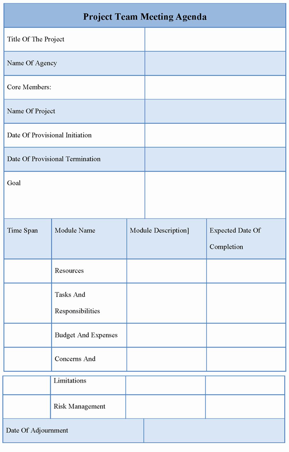Team Meeting Agenda Template Lovely Agenda Template for Project Team Meeting Template Of
