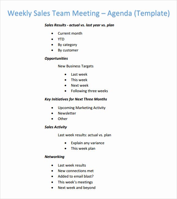 Team Meeting Agenda Template Lovely Weekly Agenda Template 6 Free Download for Pdf Word