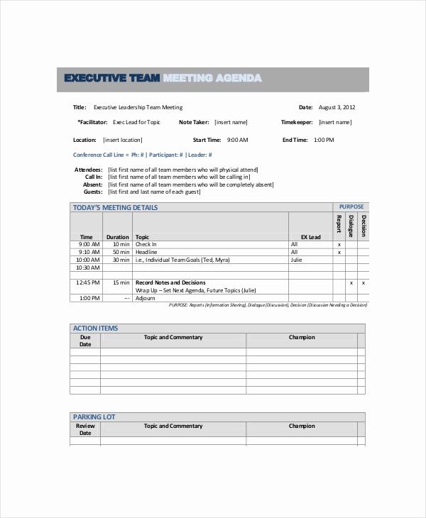 Team Meeting Agenda Template Luxury 10 Team Meeting Agenda Templates – Free Sample Example