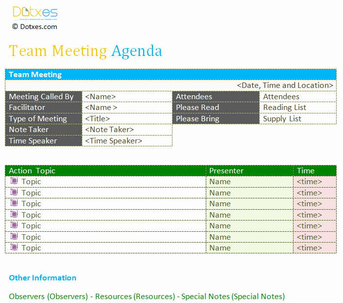 Team Meeting Agenda Template Luxury Team Meeting Agenda Template Dotxes
