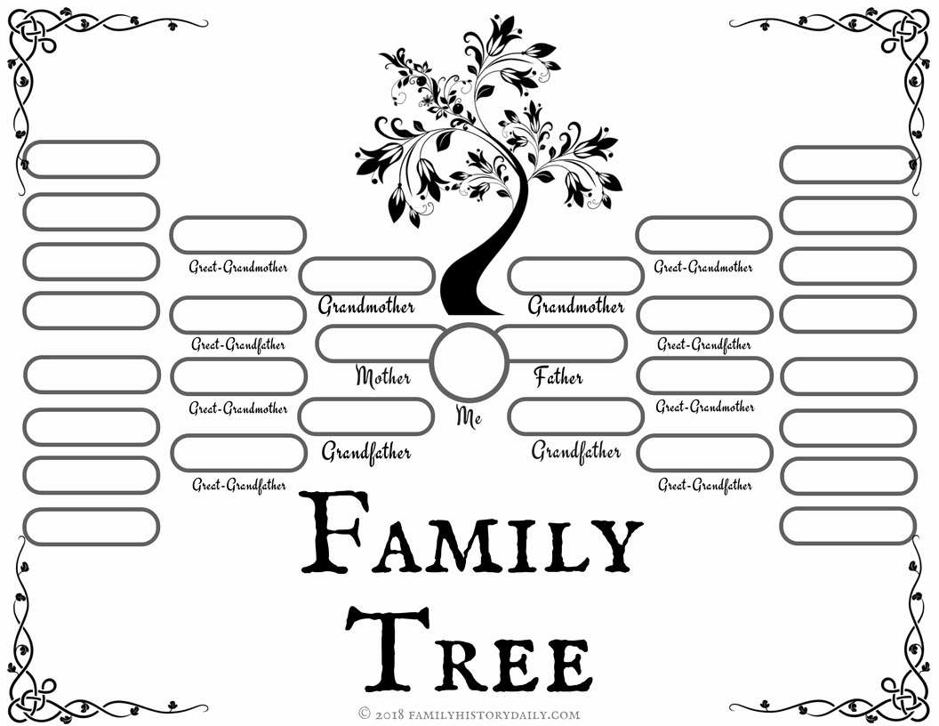 Template for Family Tree Fresh 4 Free Family Tree Templates for Genealogy Craft or