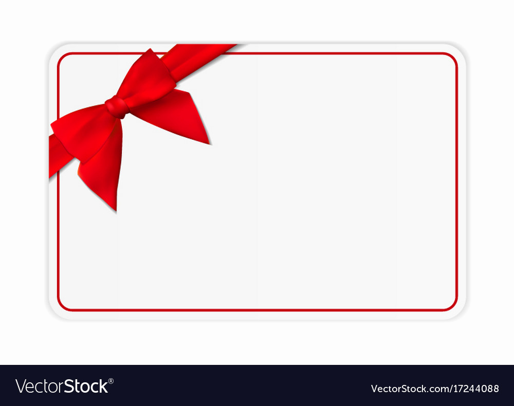 Template for Gift Certificate Awesome Blank T Card Template with Bow and Ribbon Vector Image