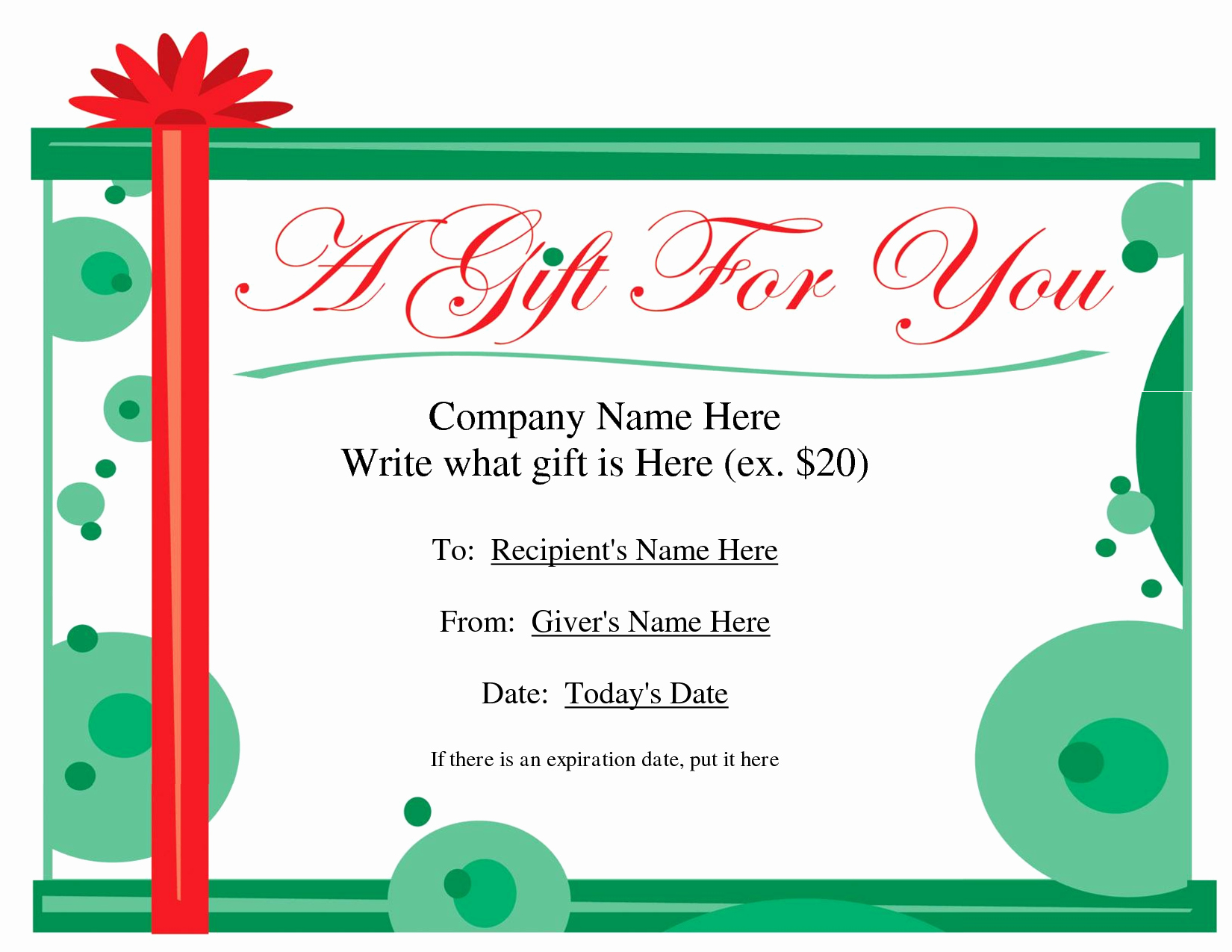 Template for Gift Certificate Beautiful Free Printable Gift Certificate Template
