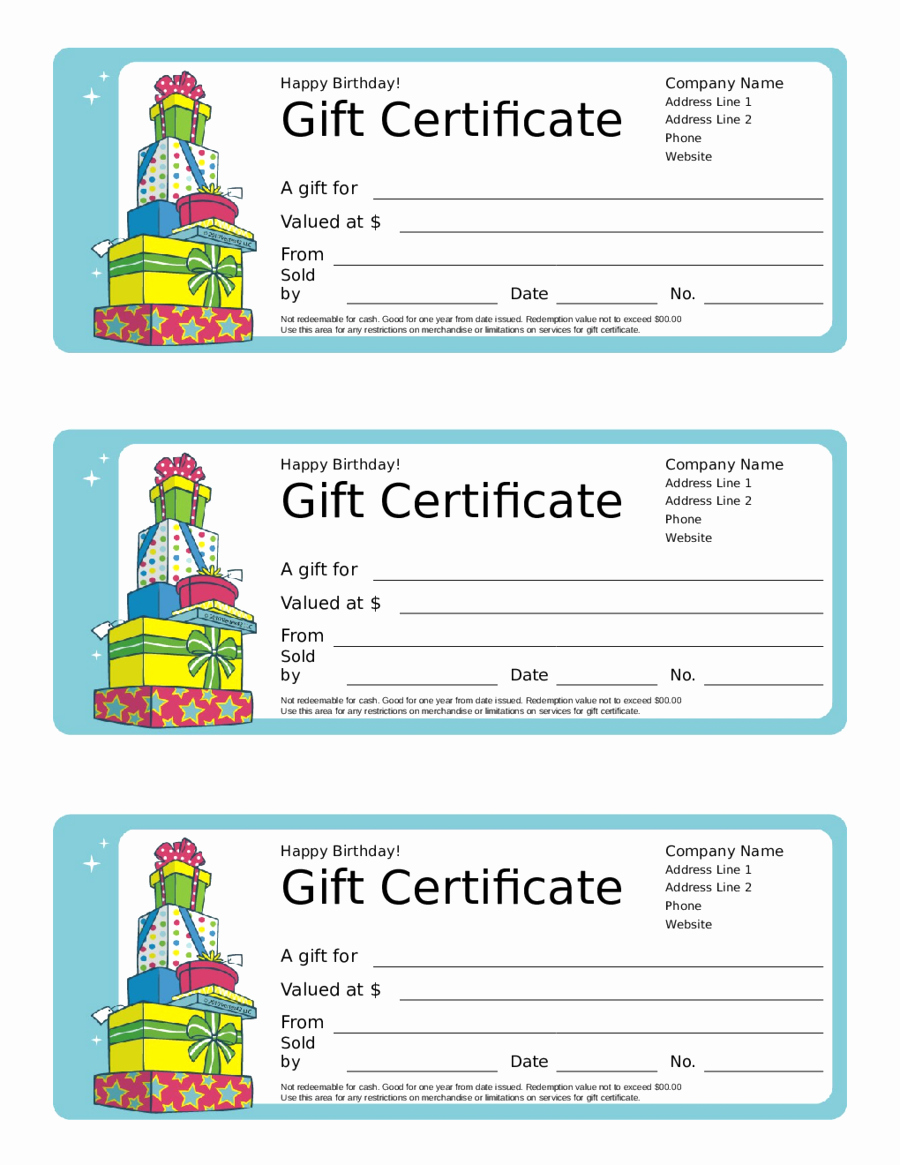 Template for Gift Certificate Best Of 2018 Gift Certificate form Fillable Printable Pdf