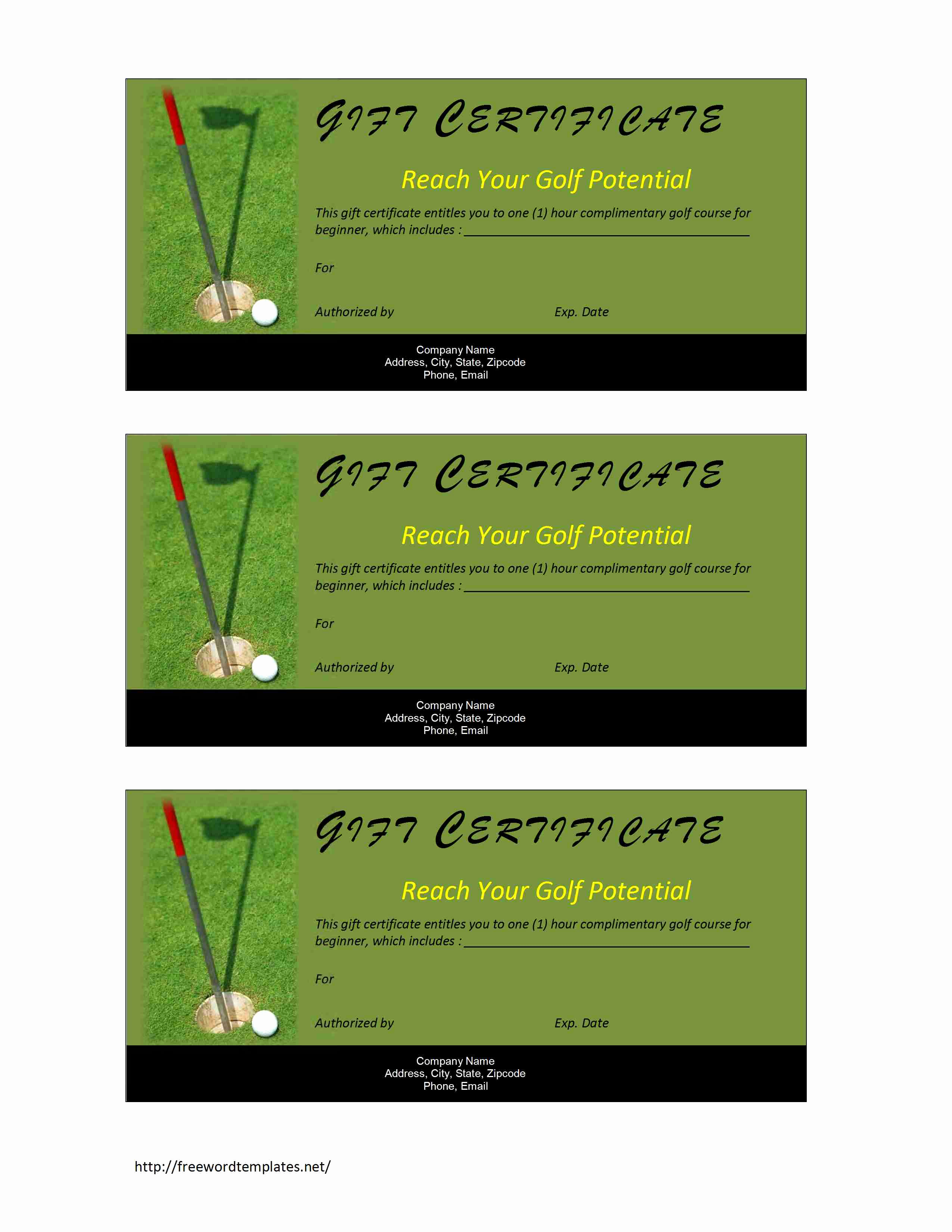 Template for Gift Certificate Inspirational Golf Gift Certificate