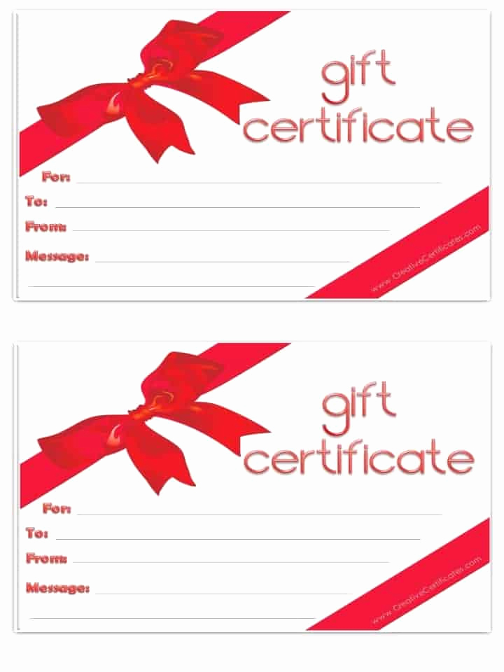 Template for Gift Certificate Lovely Free Gift Certificate Template Customizable
