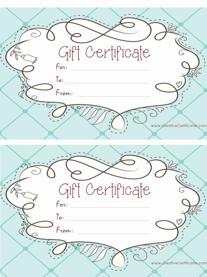 Template for Gift Certificate Lovely Light Blue T Certificate Template with A Cute Design
