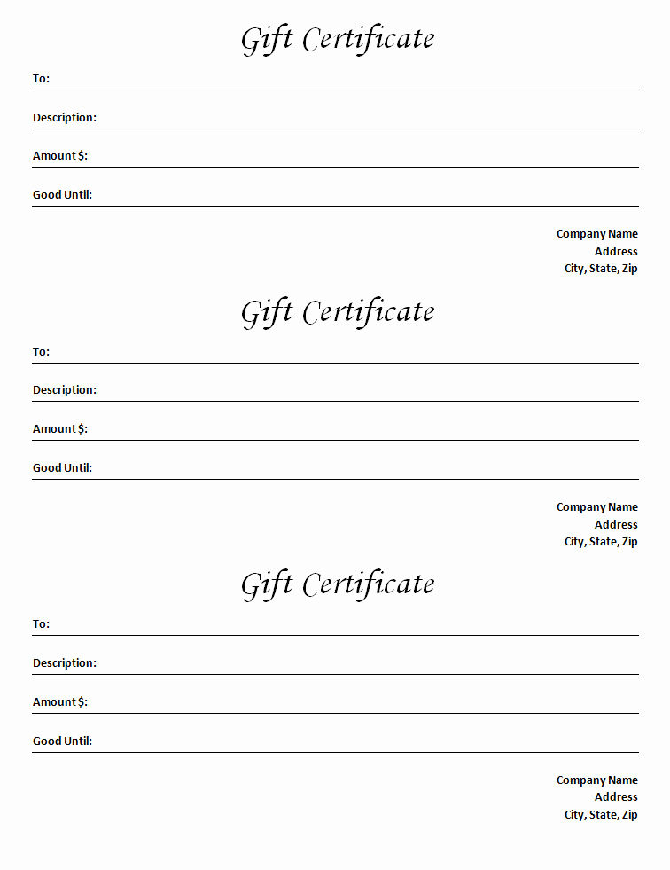 Template for Gift Certificate New Gift Certificate Template Blank Microsoft Word Document