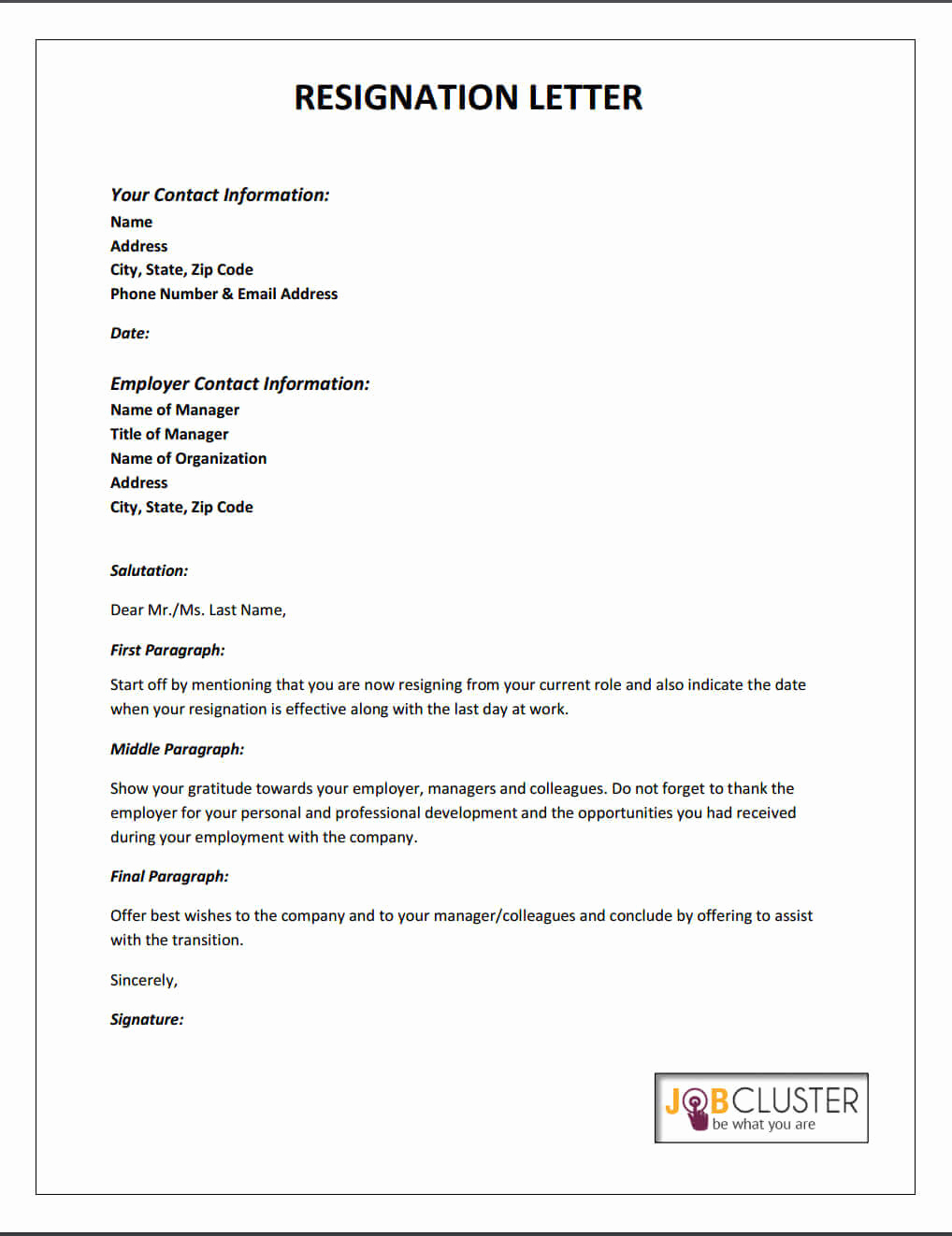 Template for Resignation Letter Awesome Writing A Resignation Letter