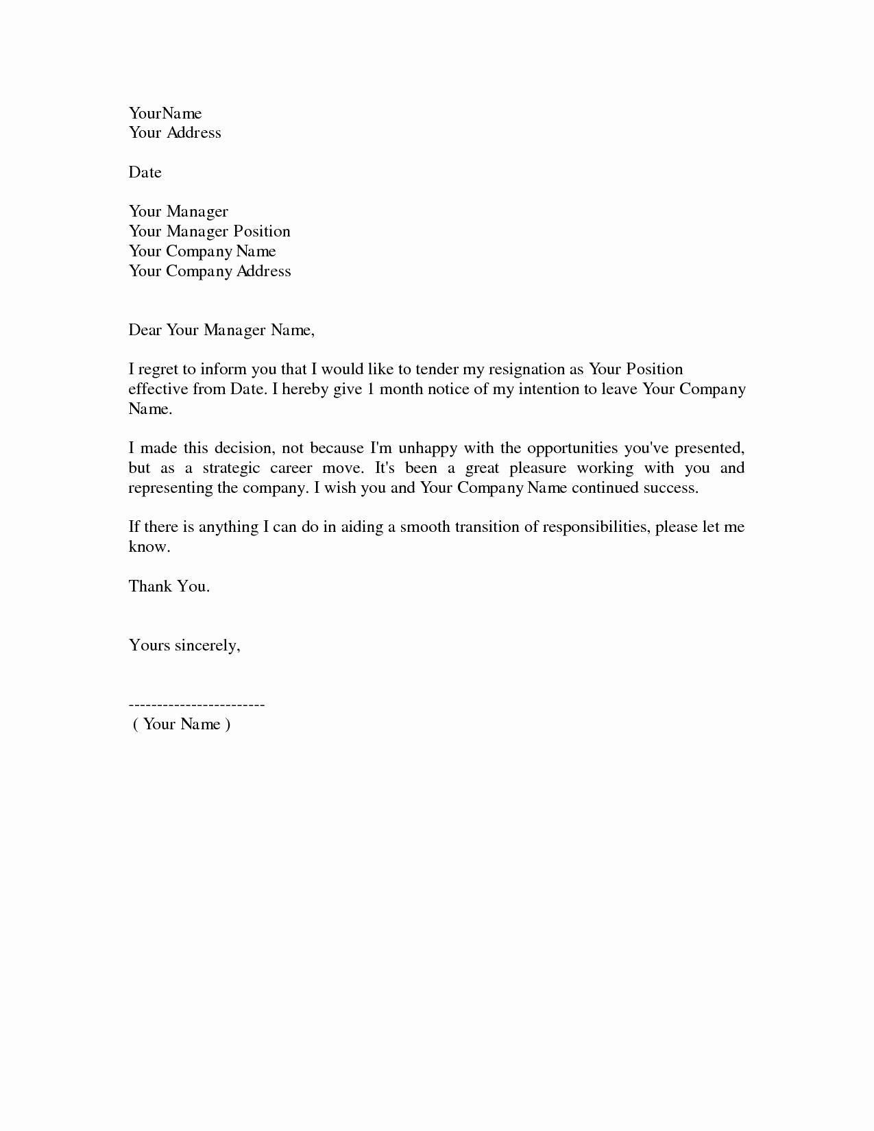 Template for Resignation Letter Lovely Simple Resignation Letter 1 Month Notice as Sample Letter