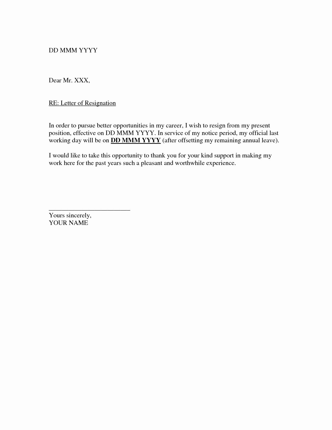 Template for Resignation Letter Unique Resignation Letter Template