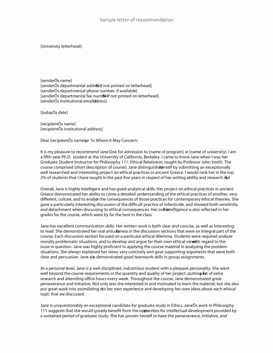 Template Letter Of Recommendation Beautiful 43 Free Letter Of Re Mendation Templates & Samples