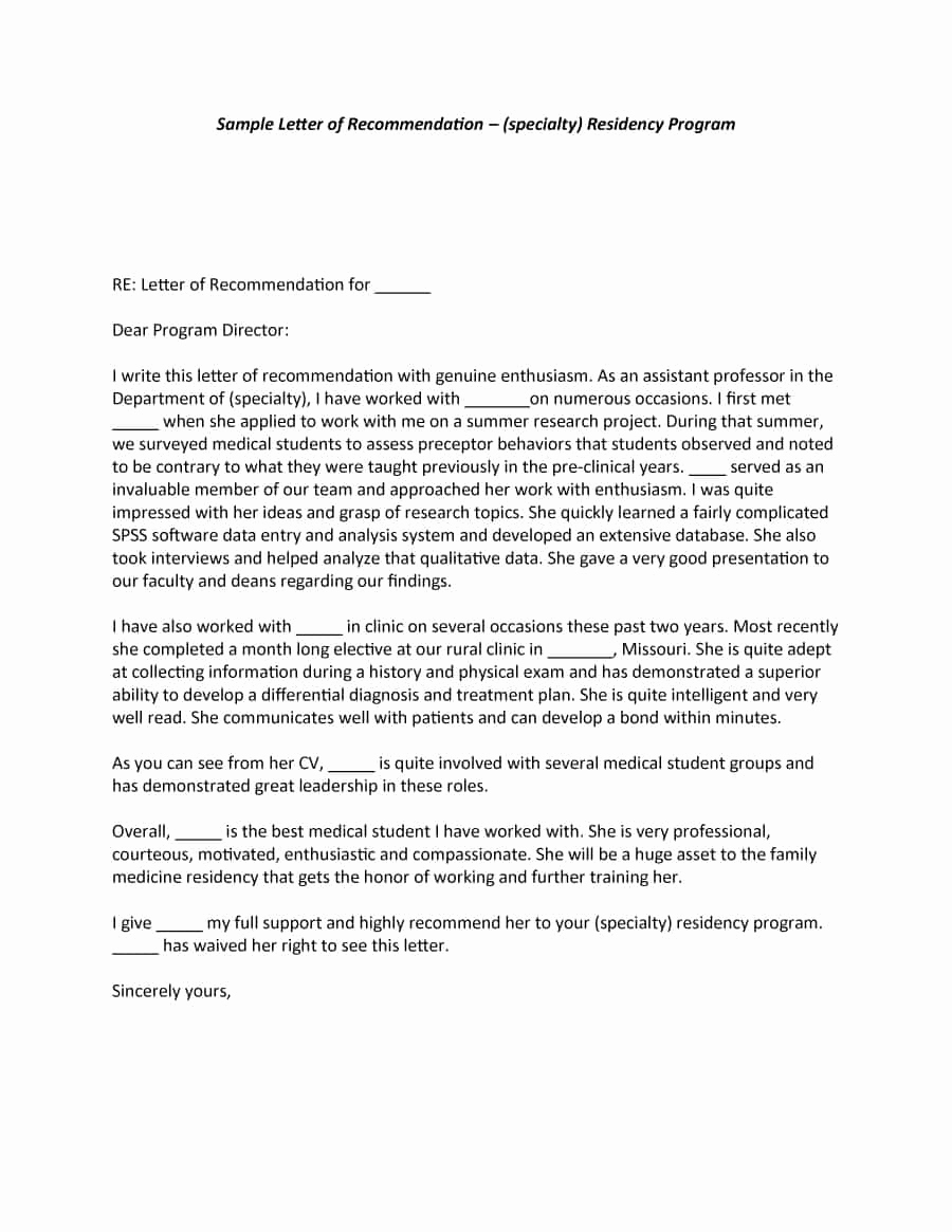 Template Letter Of Recommendation New 43 Free Letter Of Re Mendation Templates & Samples