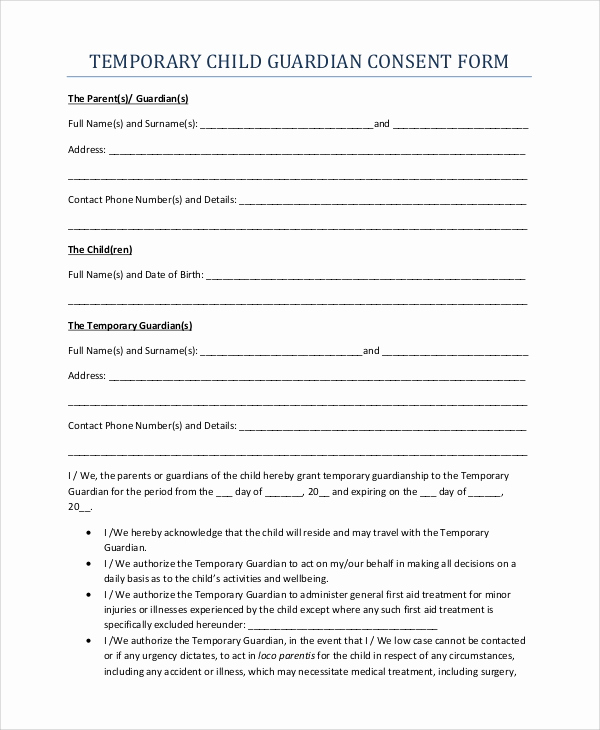 Temporary Guardianship Agreement form Awesome 10 Sample Temporary Guardianship forms Pdf