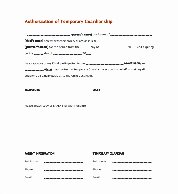 Temporary Guardianship Agreement form Awesome 9 Temporary Guardianship form Templates to Download