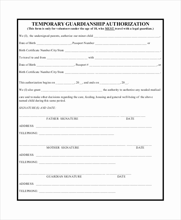 Temporary Guardianship Agreement form Inspirational 10 Sample Temporary Guardianship forms Pdf