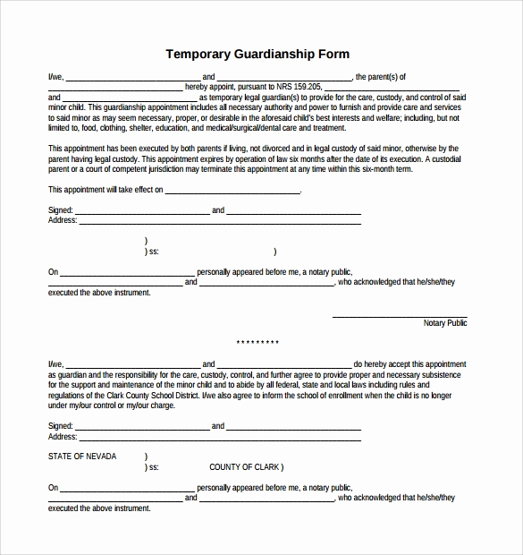 Temporary Guardianship Agreement form Inspirational 9 Temporary Guardianship form Templates to Download