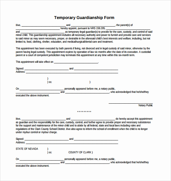 Temporary Guardianship Agreement form Inspirational Legal Guardianship Papers