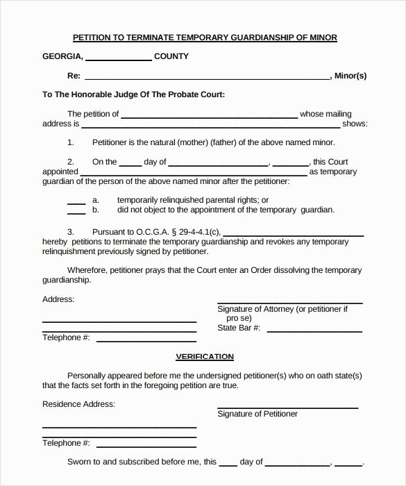 Temporary Guardianship Agreement form Inspirational Temporary Guardianship forms