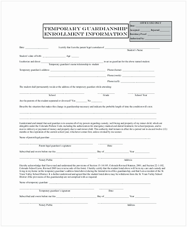 Temporary Guardianship Agreement form Lovely Temporary Guardianship form