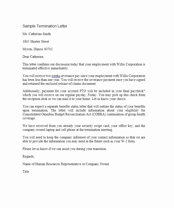 Termination Letter to Employee Awesome 35 Perfect Termination Letter Samples [lease Employee