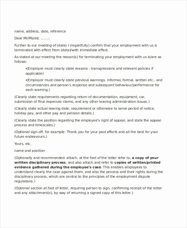 Termination Letter to Employee Awesome Employee Letter Templates 7 Free Sample Example format
