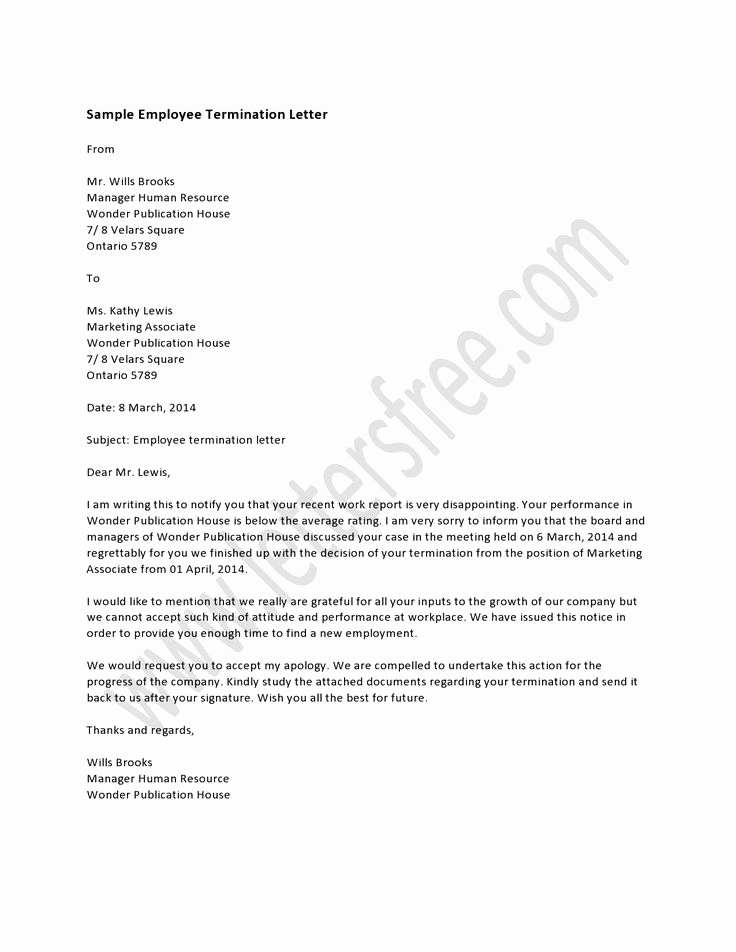 Termination Letter to Employee Fresh Sample Employee Termination Letter