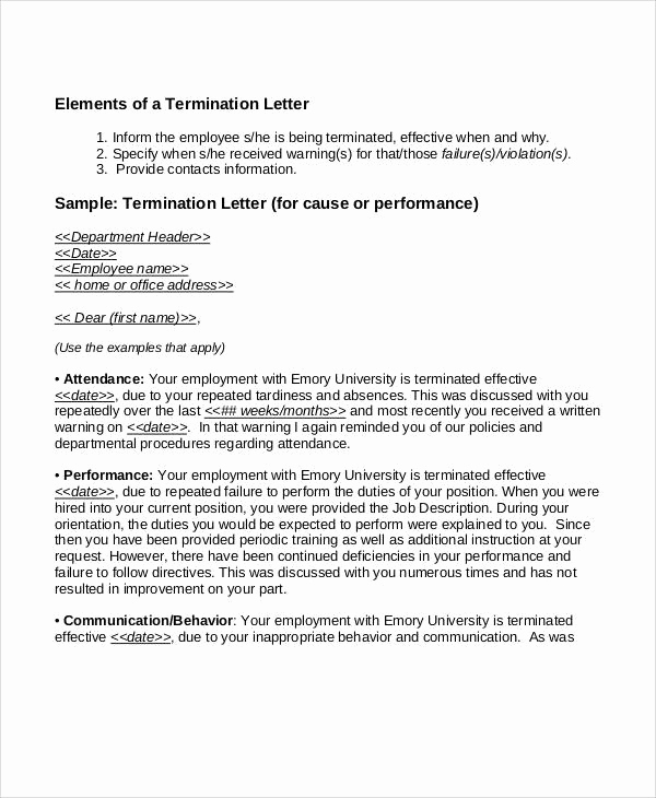 Termination Letter to Employee New 36 Examples Of Termination Letters