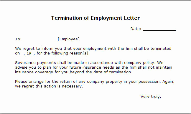 Termination Letter to Employee New Free Printable Letter Termination form Generic
