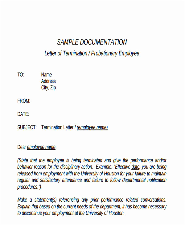 Termination Letter to Employee New Termination Letter format Templates
