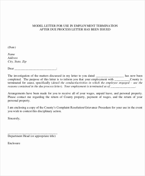 Termination Letter to Employee Unique 37 Sample Termination Letters