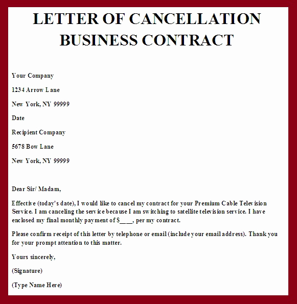 Termination Of Contract Letter Best Of Contract Termination Letter