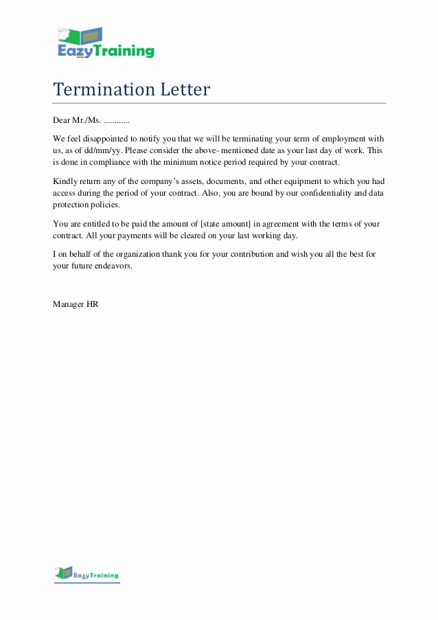 Termination Of Contract Letter Fresh Termination Letter Template format for Employee On
