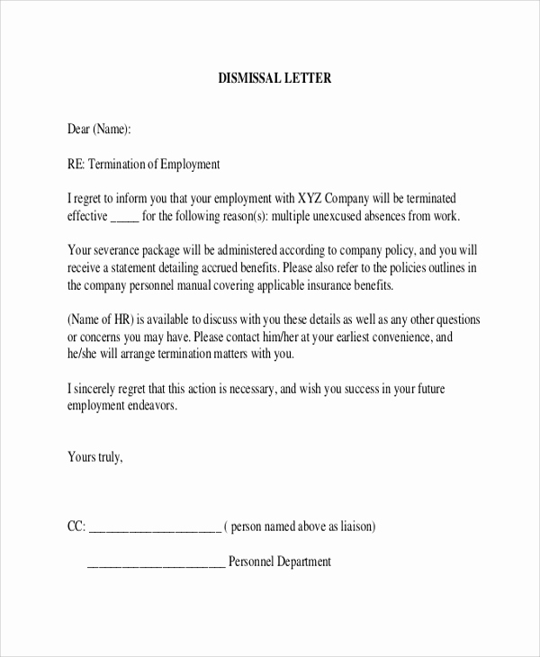 Termination Of Employment Letter Fresh 9 Sample Employee Termination Letters Word Pdf Pages