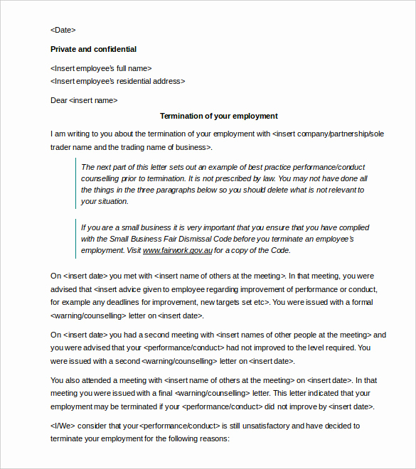 Termination Of Employment Letter Fresh Termination Letters – 18 Free Word Pdf Documents