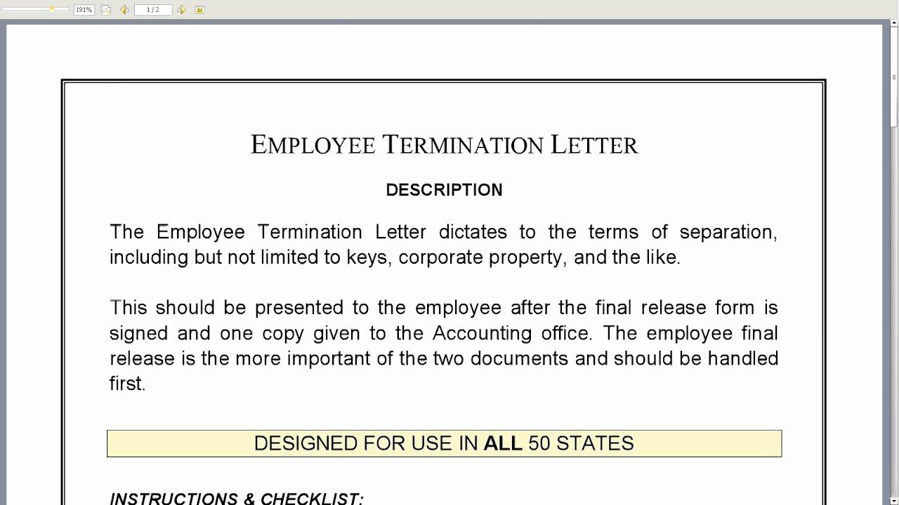 Termination Of Employment Letter Luxury Employee Termination Letter