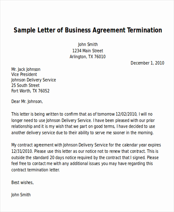 Termination Of Services Letter New 7 Sample Termination Of Business Letters Pdf Word