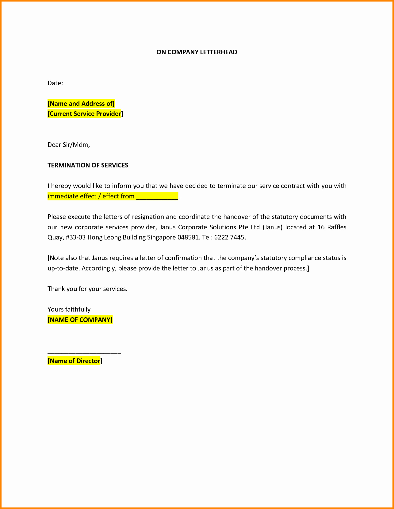Termination Of Services Letter New Sample Letter Termination Service Provider