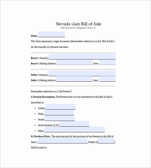 Texas Gun Bill Of Sale Lovely Gun Bill Of Sale Template – 10 Free Word Excel Pdf