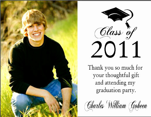 Thank You Card for Money Beautiful Graduation Graduate Photo Party Thank You Note Cards