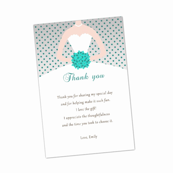Thank You Card for Money Lovely Grey Turquoise Bridal Shower Thank You Cards Bouquet Bride