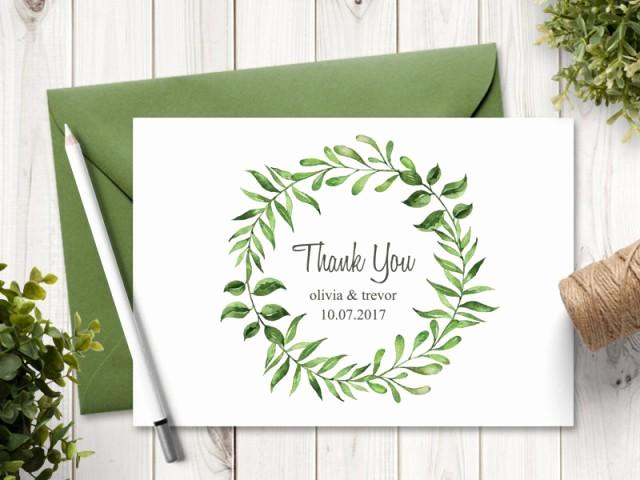 "Thank You Card Template Word Beautiful Watercolor Wreath Wedding Thank You Card Template ""lovely"