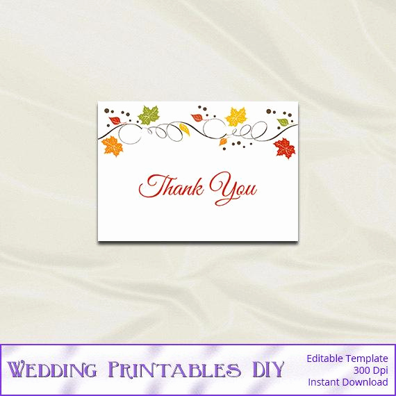 Thank You Card Template Word Elegant Items Similar to Fall Wedding Thank You Card Template Diy
