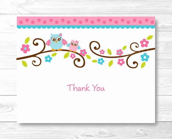 Thank You Cards Template Awesome Pink Owl Thank You Card Folded Card Template Owl Baby
