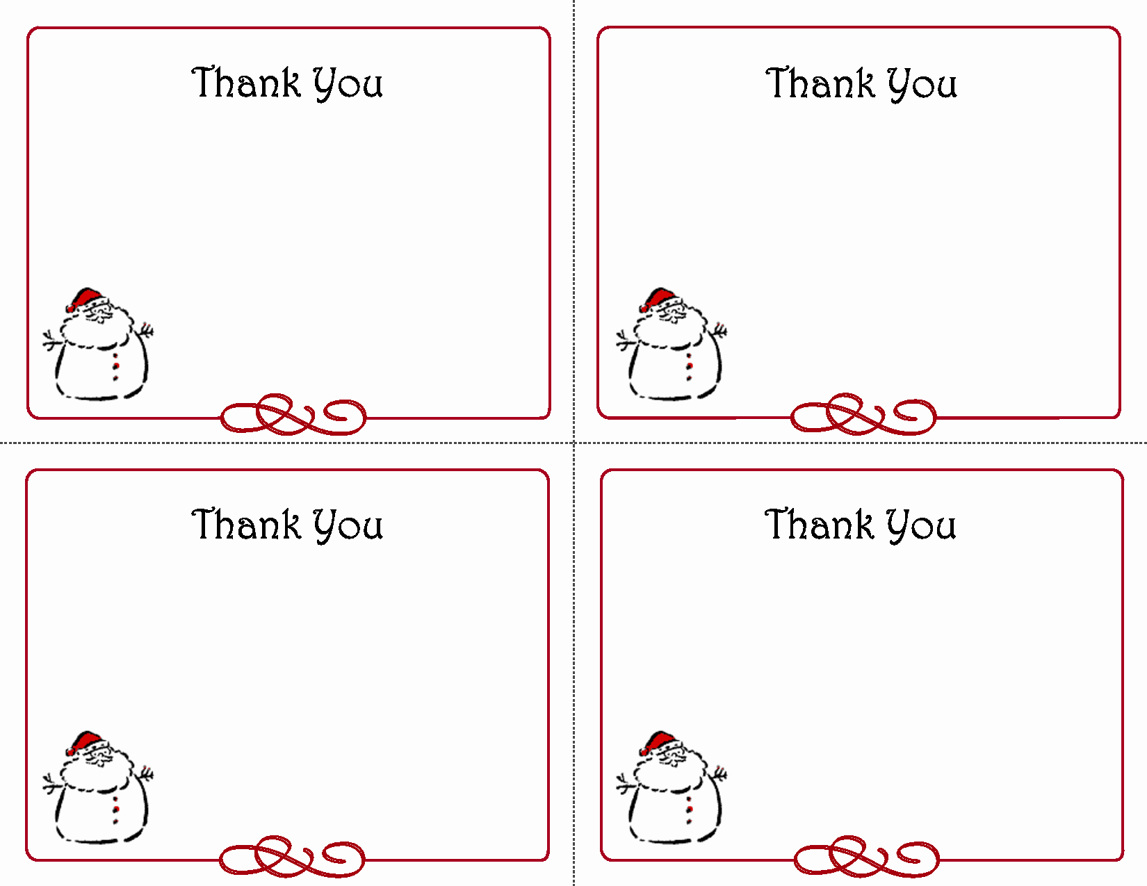 Thank You Cards Template Awesome Printable Christmas Thank You Card Templates
